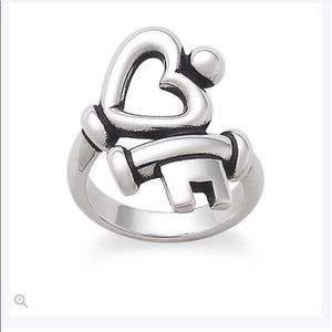 James Avery Heart and Key Silver Ring